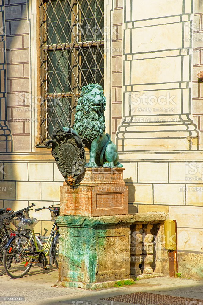 Lion statue near Munich Residence in Munich in Germany stock photo