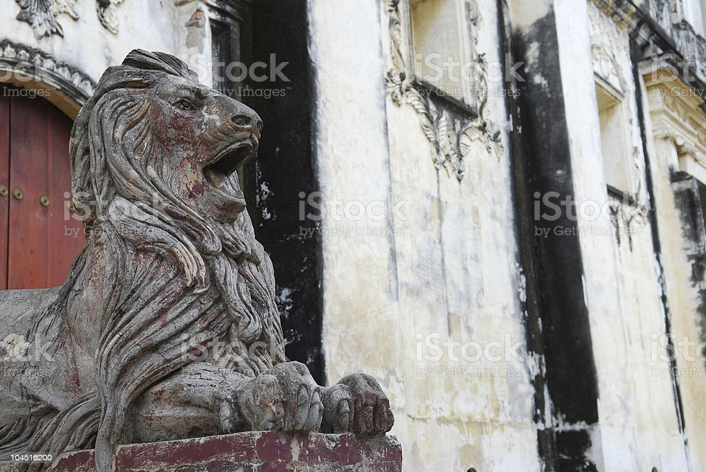 Lion Statue outside Cathedral stock photo