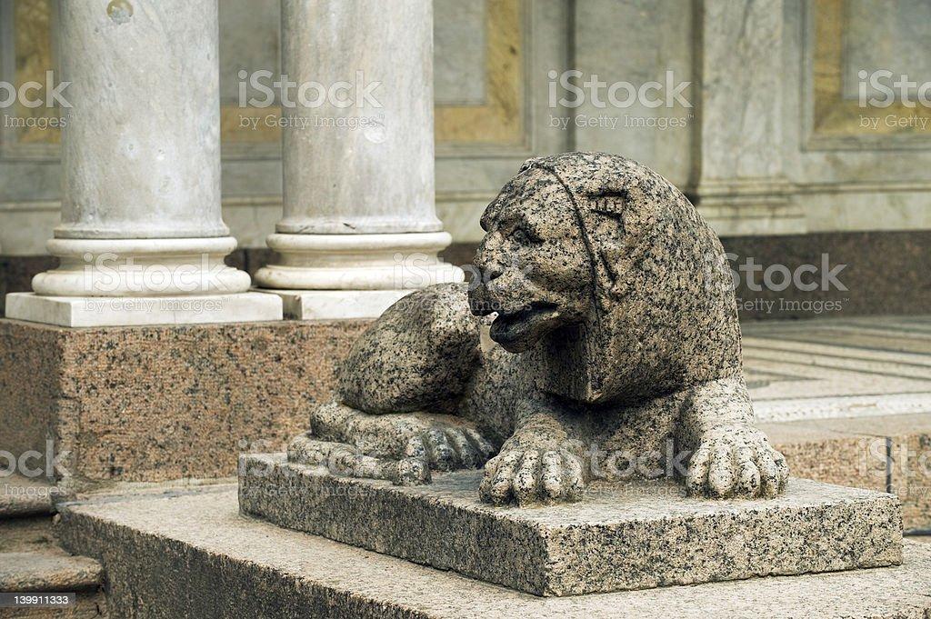 Lion stone Peterhof, st. Petersburg stock photo