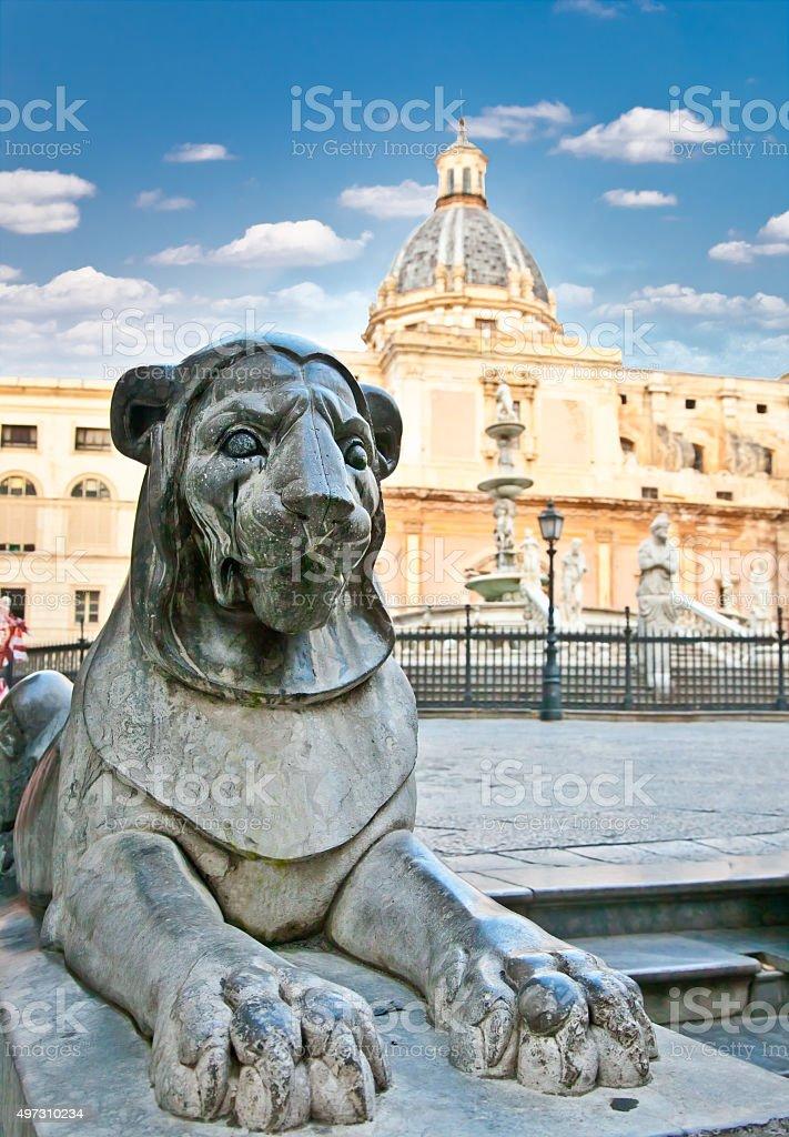 Lion stone statue on Piazza Pretoria in Palermo, Sicily stock photo