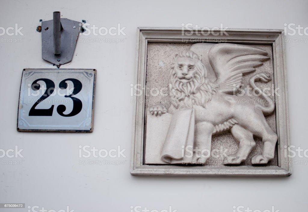 Lion, the symbol of Lviv. The twenty-three number stock photo