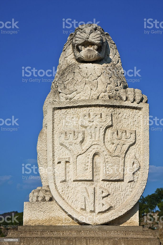Lion with Shield Statue stock photo