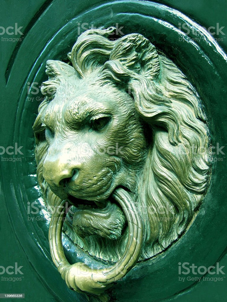 Lionhead knocker stock photo