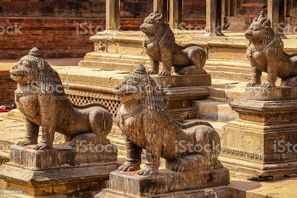 Lions at temple stock photo