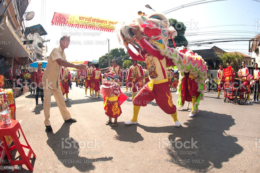 Lions dance at worship parades. royalty-free stock photo