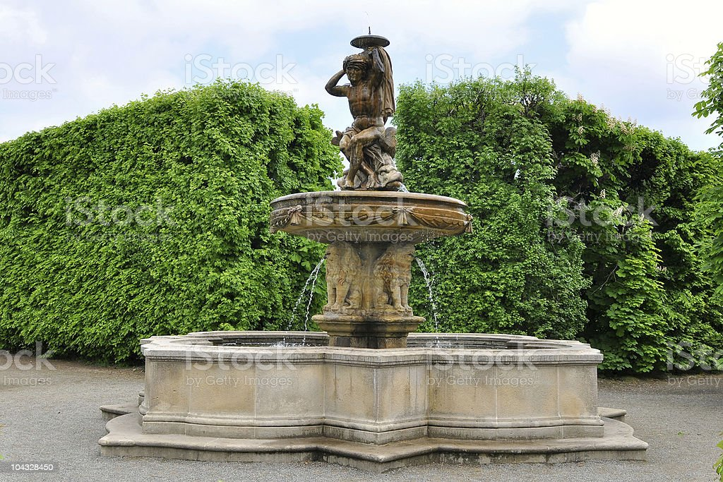 Lions fountain in Flower garden , Kromeriz,Czech rep. royalty-free stock photo