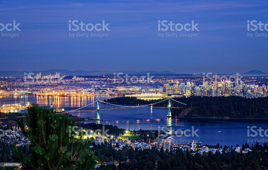 Lions gate at night. stock photo