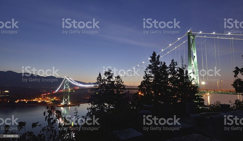 Lions Gate Bridge and Grouse Mountain stock photo