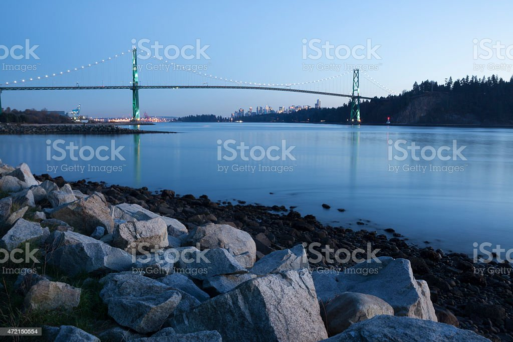 Lions Gate Bridge at night from West Vancouver stock photo