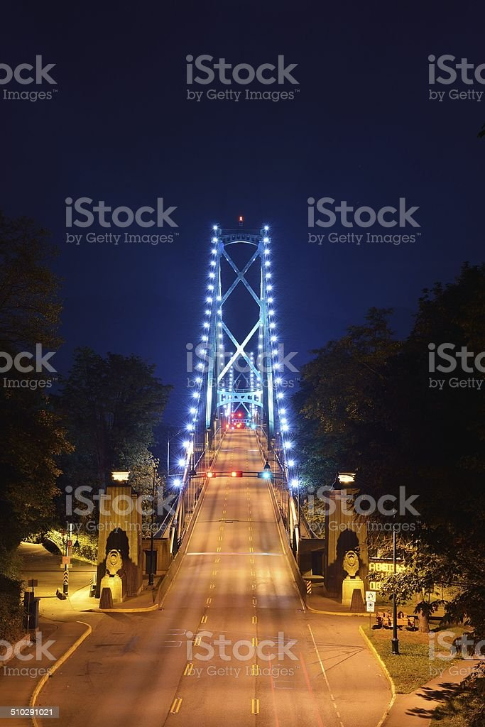 Lions Gate Bridge Night Scene stock photo