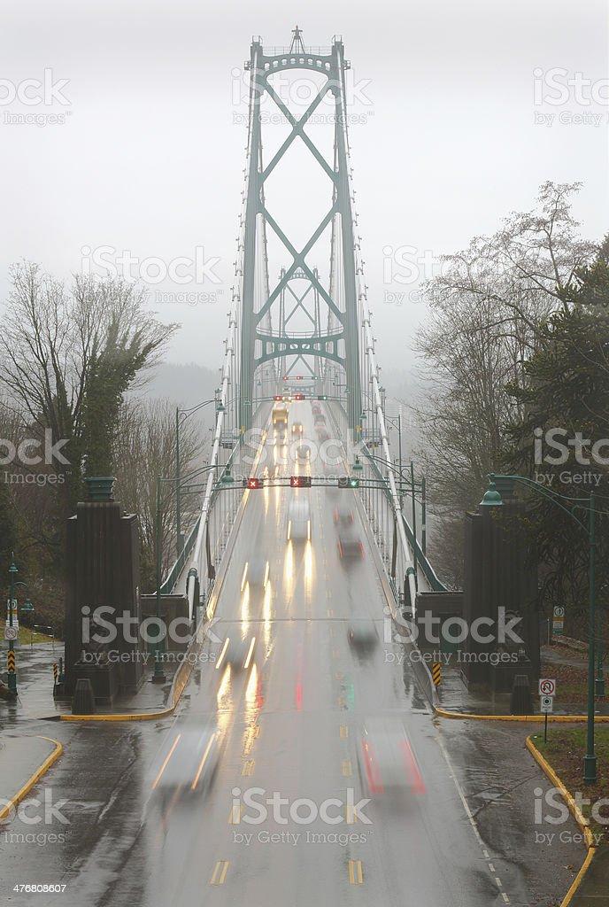 Lions Gate Bridge Rainy Commute, Vancouver royalty-free stock photo