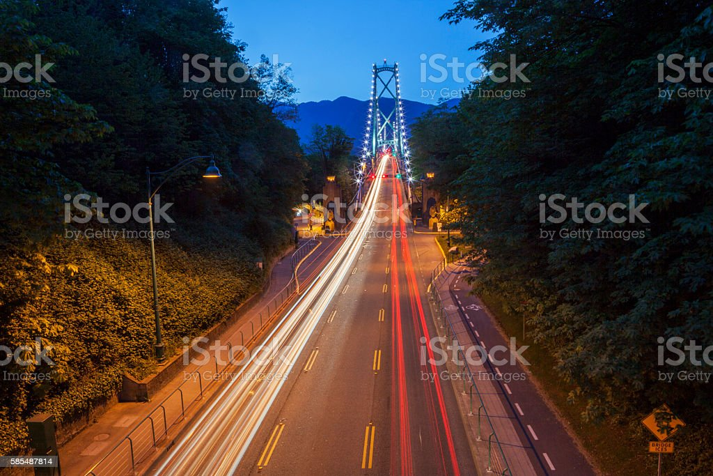 Lions Gate Bridge Traffic stock photo