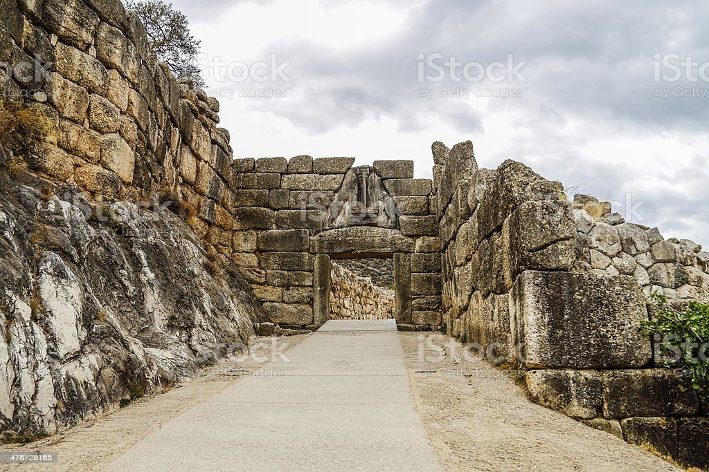 Lion's Gate in ancient city of Mycenae, Peloponnes, Greece stock photo