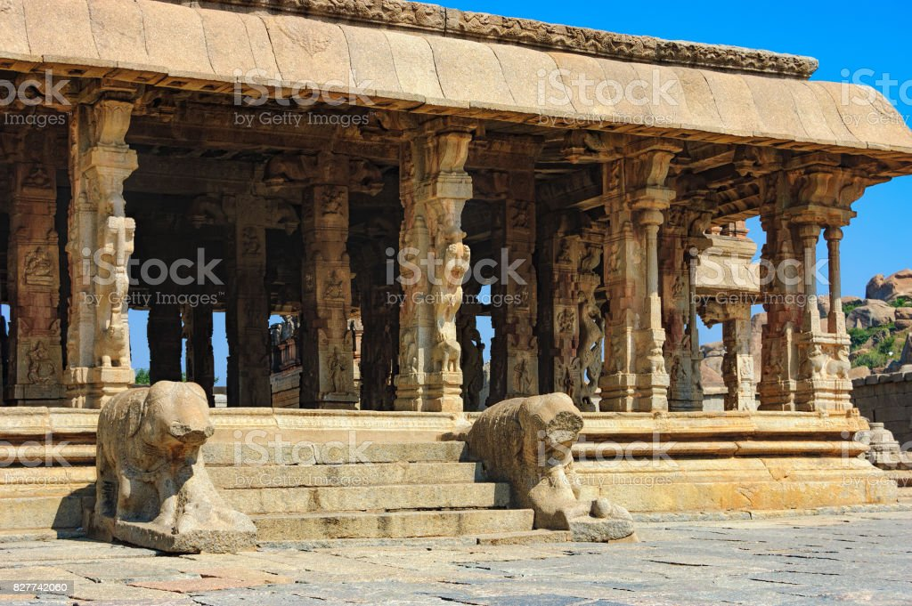 Lions guard Bala Krishna in Hampi, India stock photo