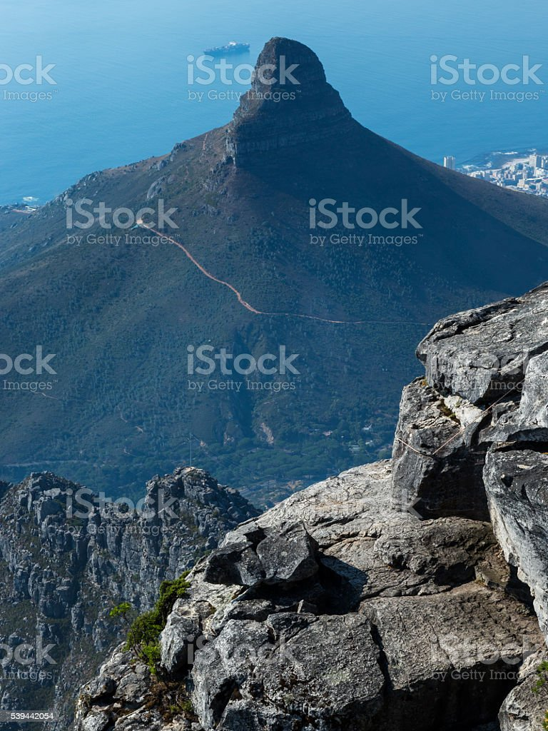 Lions Head From The Summit Of Table Mountain stock photo