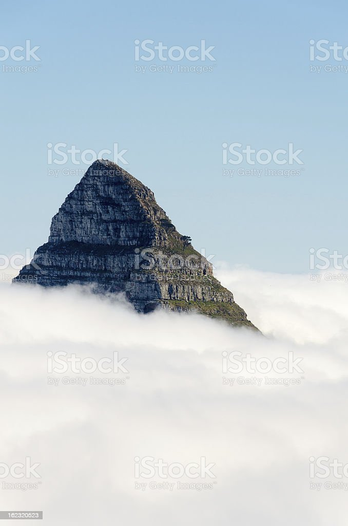 Lion's Head in a sea of fog royalty-free stock photo