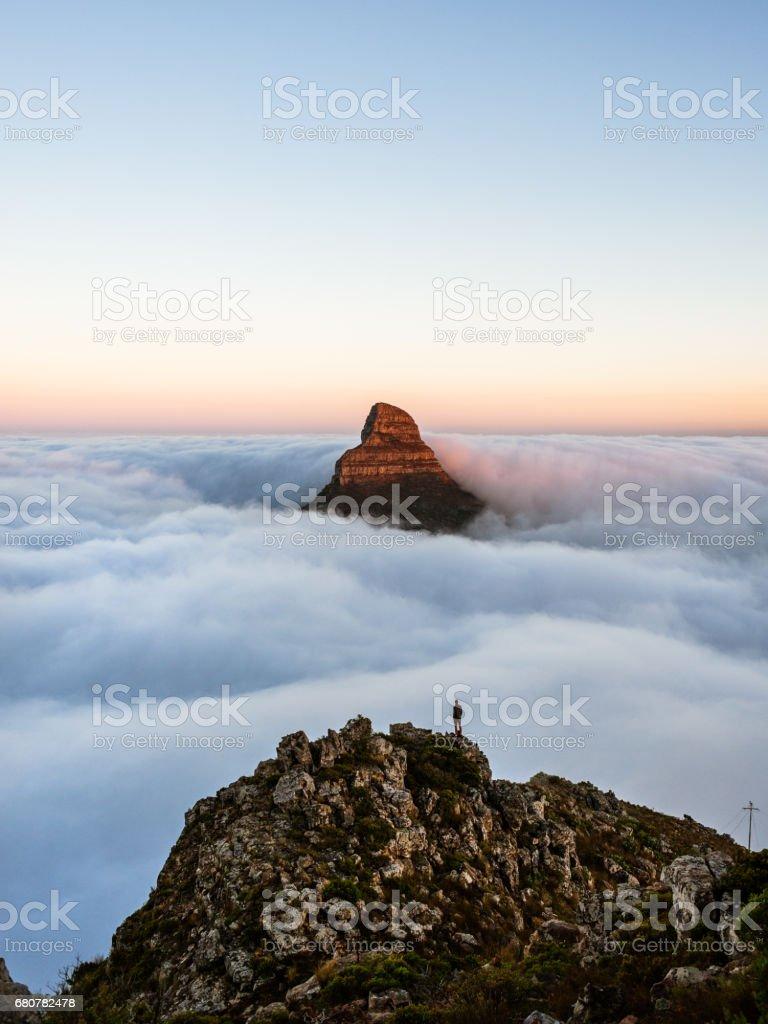Lions Head mountain fog stock photo