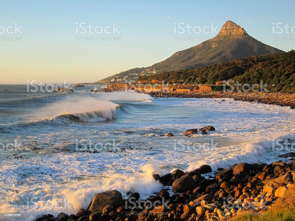 Lion's head mountain wave stock photo