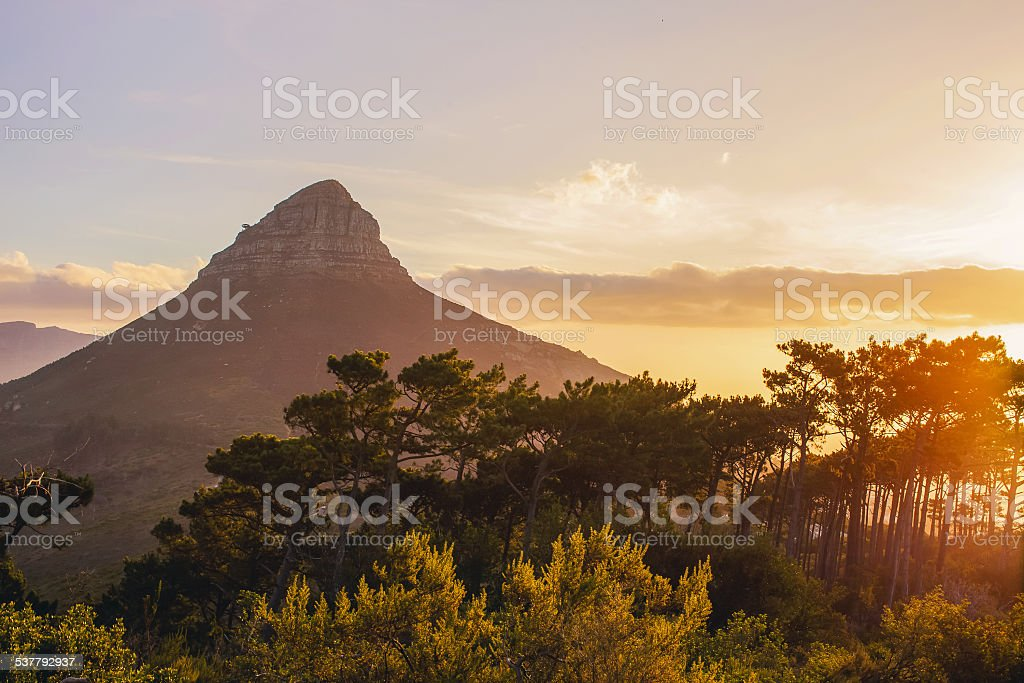 Lions Head Sunset Cape Town stock photo
