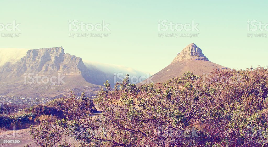 Lion's Head, Table Mountain, Vintage, color-treated, scenic, beautiful stock photo
