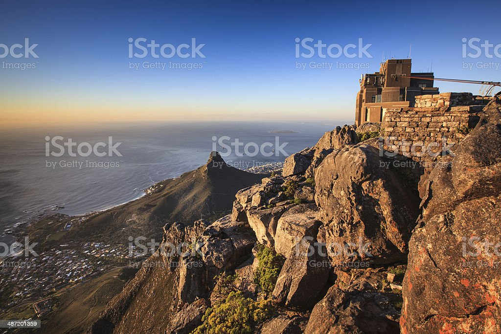 Lions Head view from top of Table Mountain stock photo