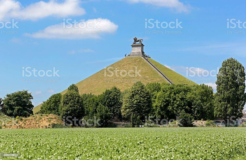 Lion's Mound commemorating the Battle at Waterloo, Belgium. stock photo