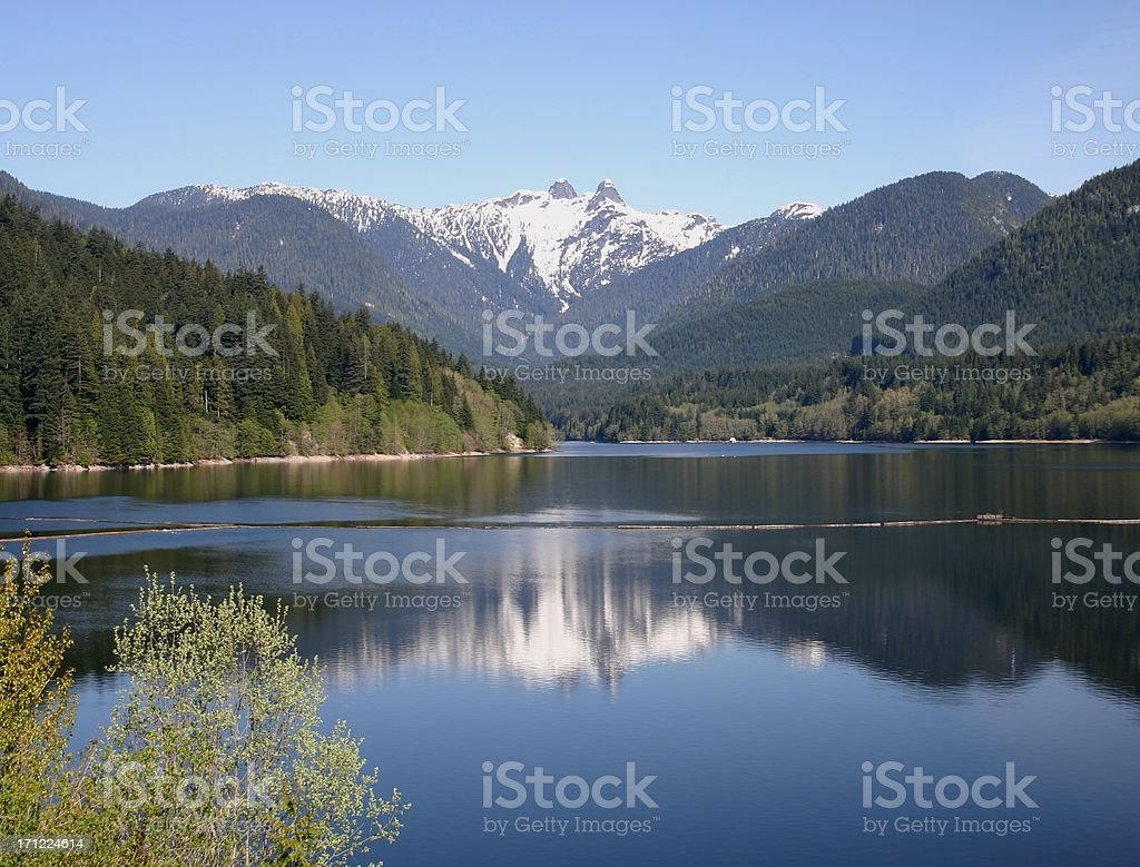 Lions Mountains And Reflection royalty-free stock photo