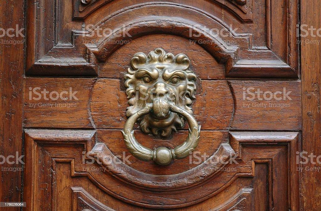 Lion's Mouth Door Knocker stock photo