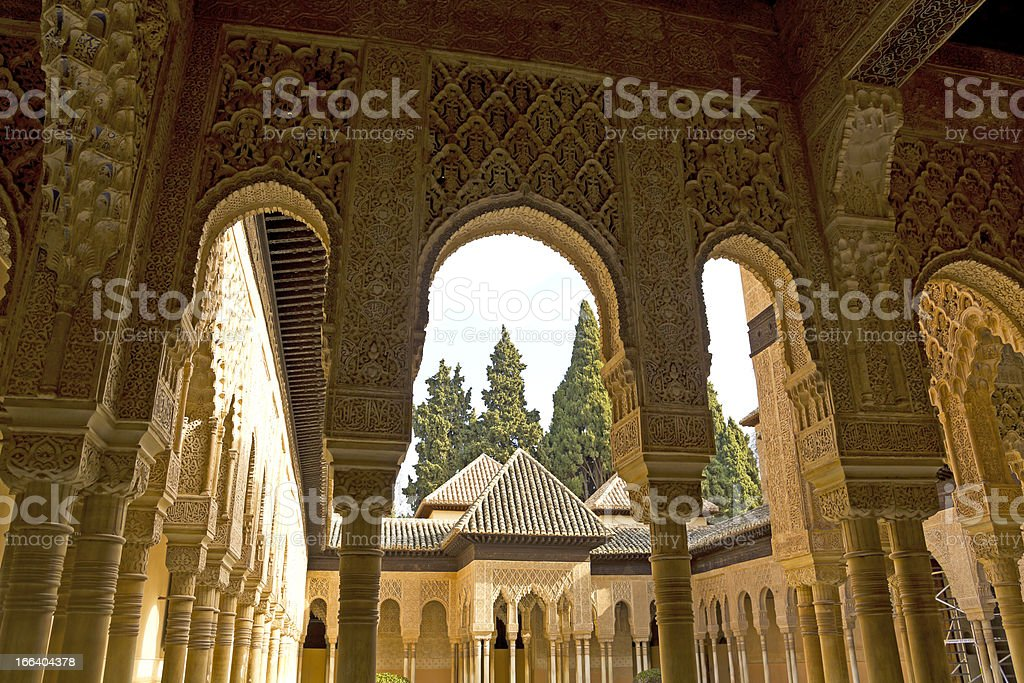 Lions Patio, Alhambra Granada Spain stock photo