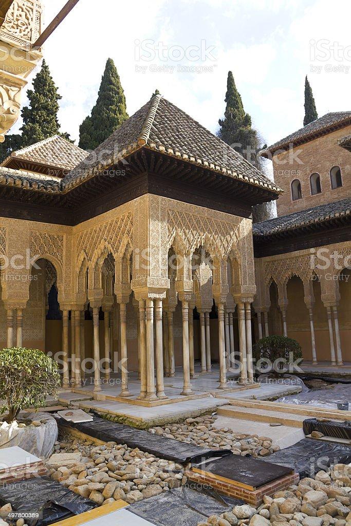 Lions Patio, Alhambra, Granada, Spain stock photo