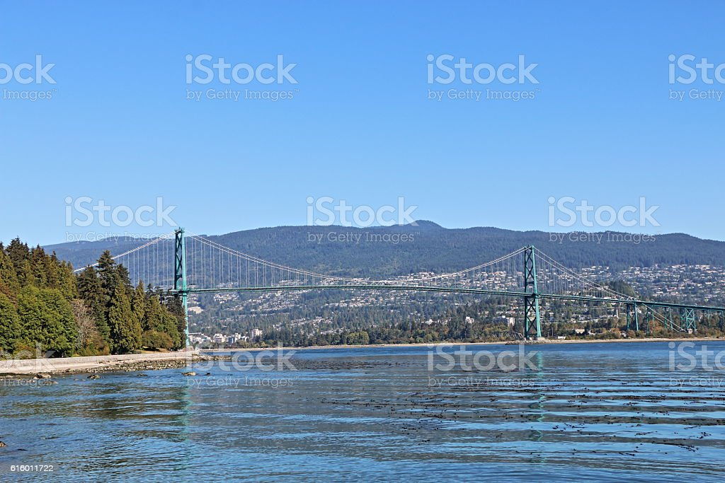 Lionsgate Bridge, Stanley Park, Vancouver, British Columbia, Canada stock photo