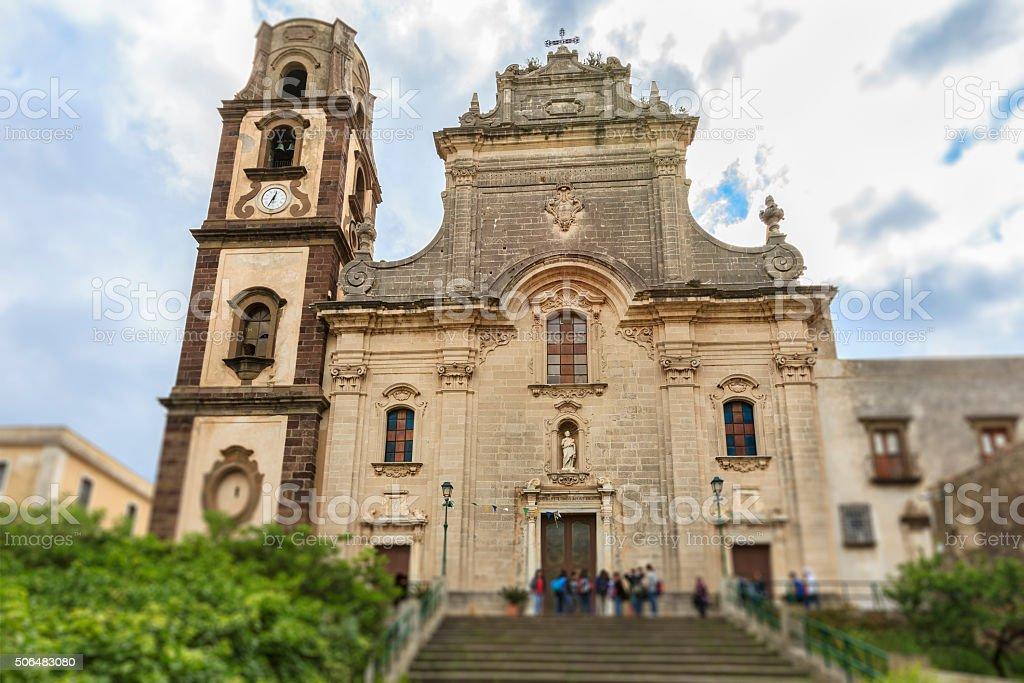 Lipari Cathedral, Lipari - Aeolian Islands, Sicily stock photo