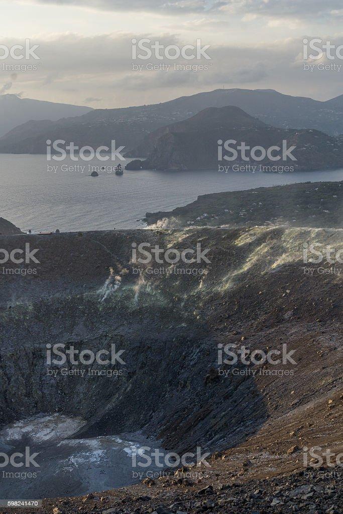 Lipari Islands' view from top of a volcano, Vulcano stock photo