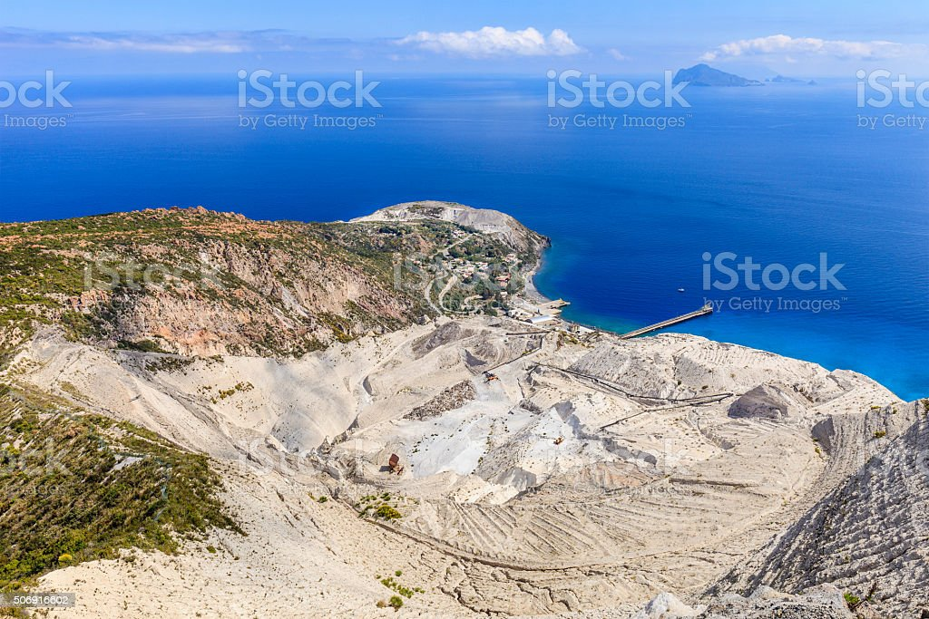 Lipari, Pumice Quarry - Aeolian islands, Sicily stock photo