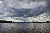 Lipno lake in overcast weather, Czech Republic.