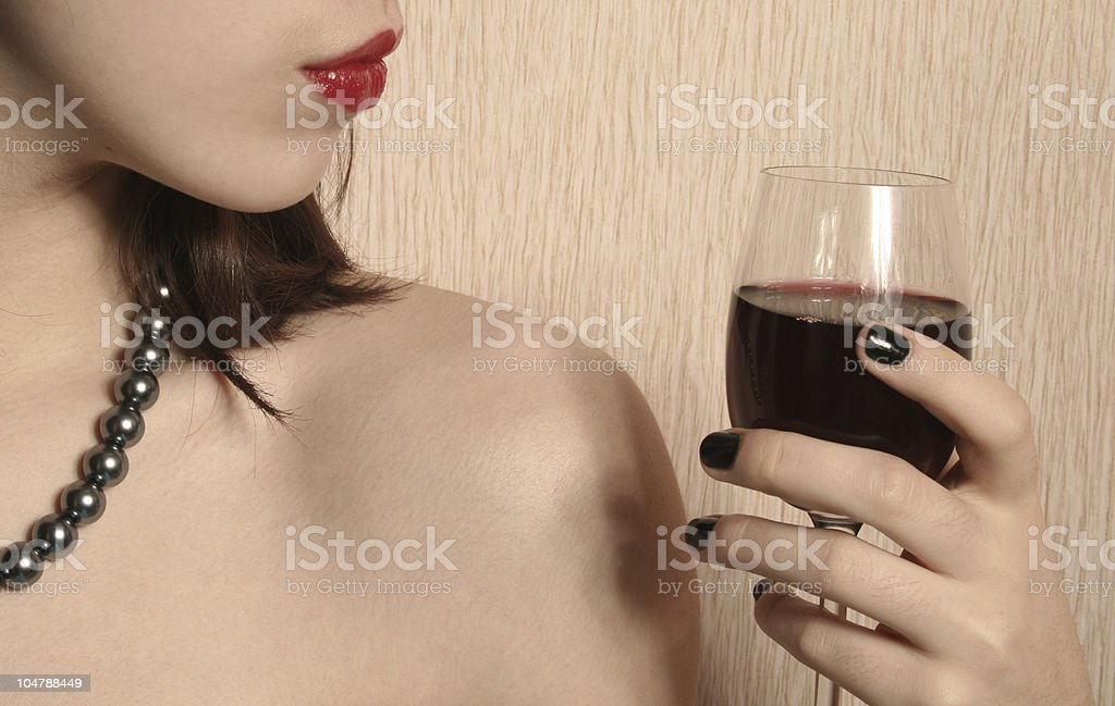 Lips and a glass of wine. royalty-free stock photo