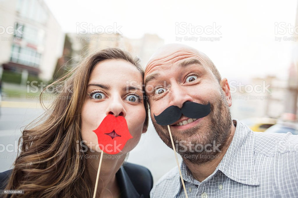 Lips and moustaches selfie stock photo