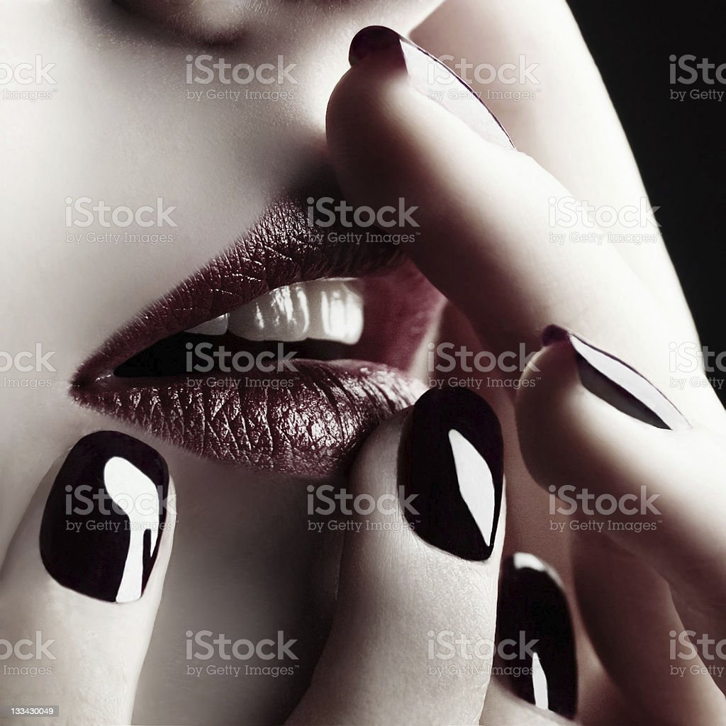 Lips and nails stock photo