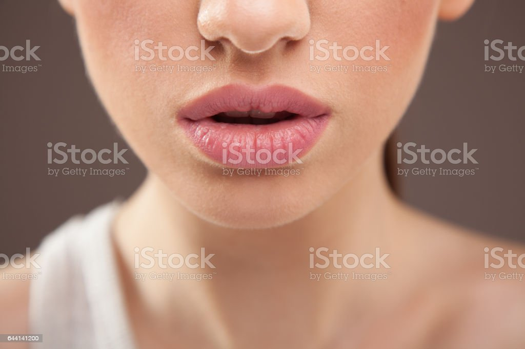 Lips closeup stock photo