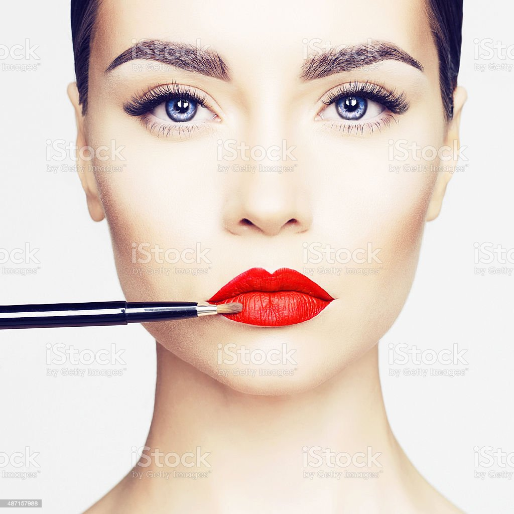 Lips makeup stock photo