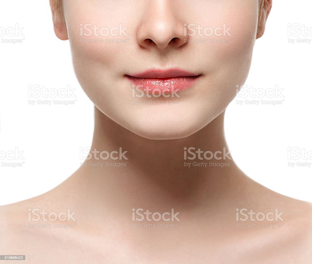 Lips neck Blonde woman beauty portrait close-up isolated on white stock photo