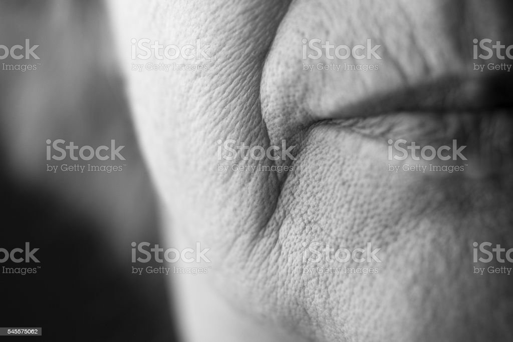 lips of an old woman stock photo