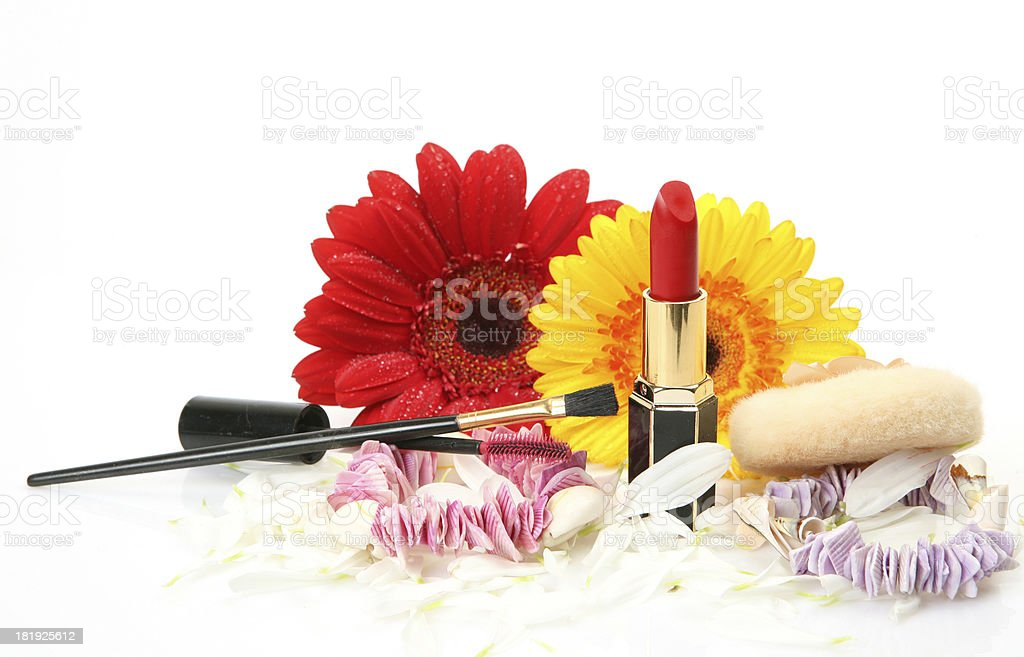 Lipstick and flowers royalty-free stock photo