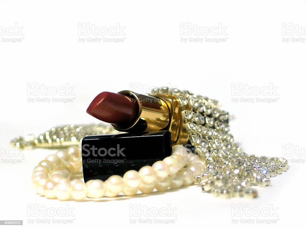 Lipstick and Jewlery royalty-free stock photo