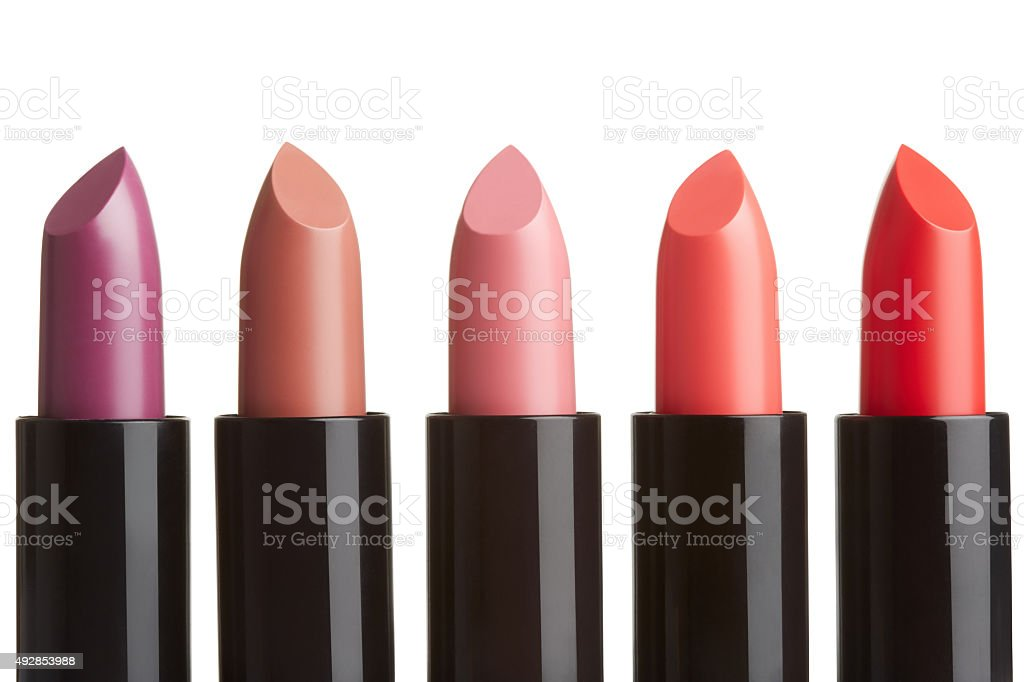 Lipstick collection on white stock photo
