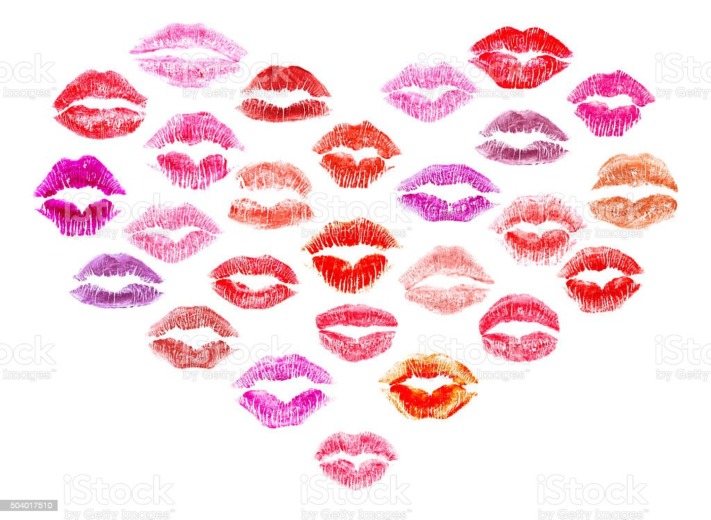 Lipstick kisses heart stock photo