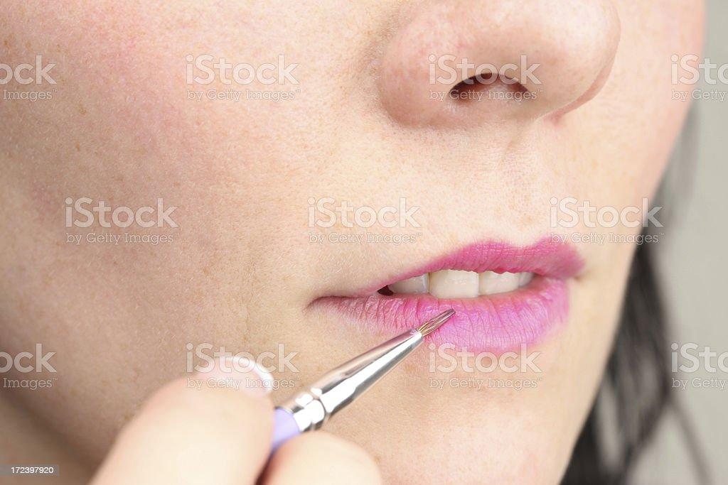 Lipstick lipgloss brush royalty-free stock photo