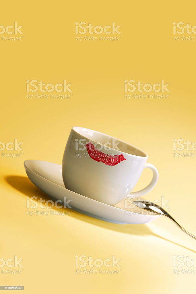 Lipstick mark on cup royalty-free stock photo