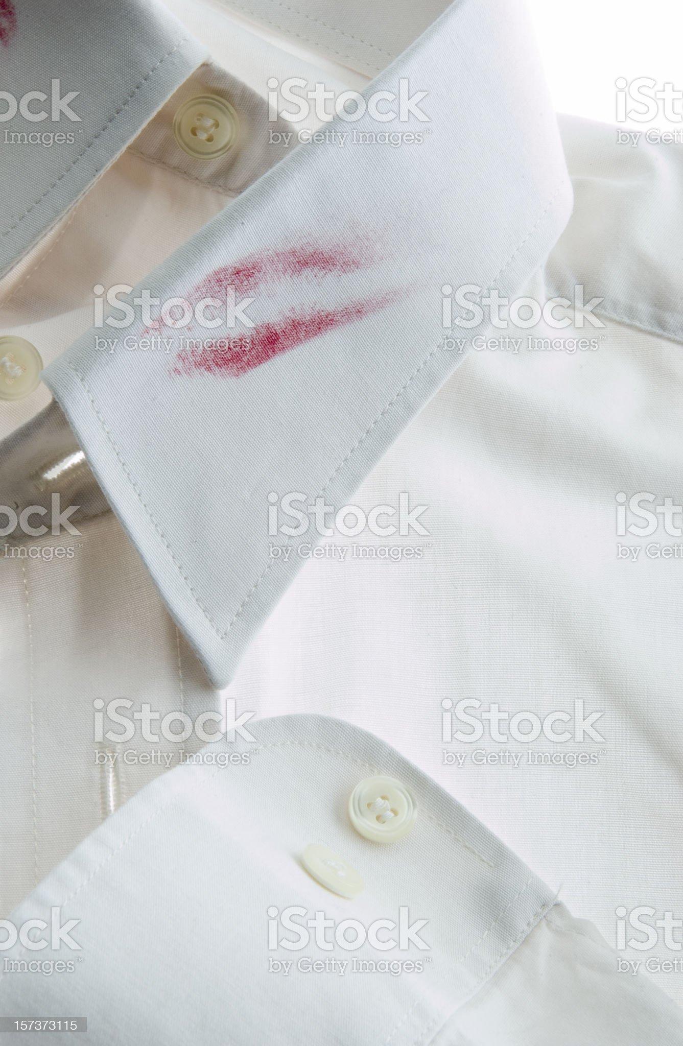 lipstick on white collar royalty-free stock photo