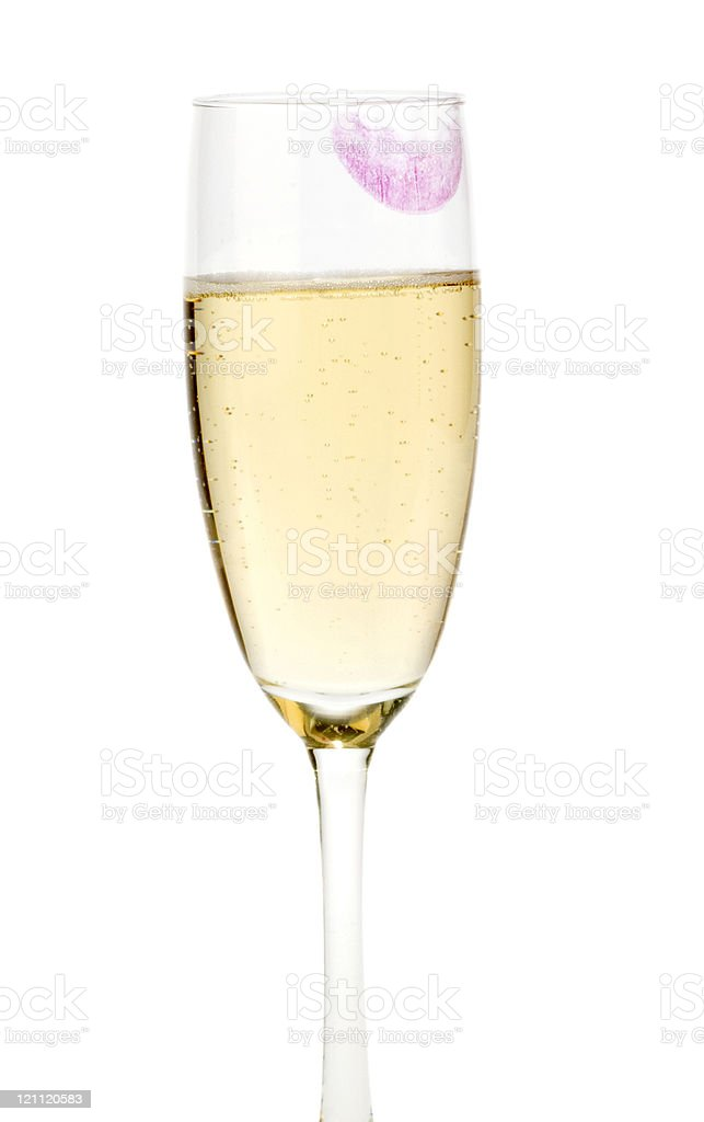 Lipstick on Wine Flute stock photo